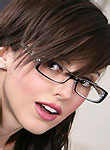 beauty brunette in sexy glasses