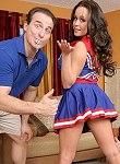 Bigtits cheerleader double teamed