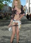 blonde babe flashing her pussy in public