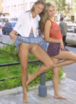two cute teen babes flashing and naked in public